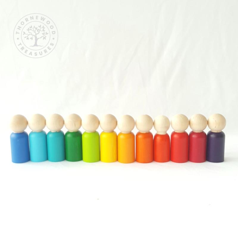 Rainbow Peg Dolls – Sunset Blues