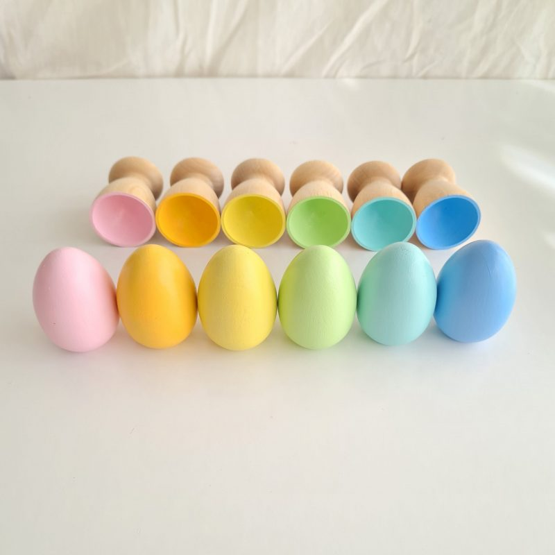 Wooden Eggs And Cups – Pastels